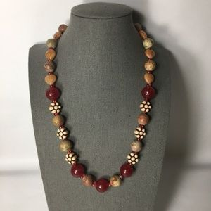 Red and yellow beads and stones necklace string
